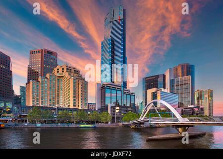City of Melbourne. Cityscape image of Melbourne, Australia during summer sunrise. - Stock Photo