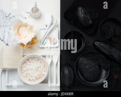 fine art of styling food in black and white color - Stock Photo