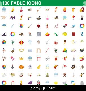 100 fable icons set in cartoon style for any design vector illustration - Stock Photo