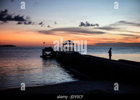Jetty at Sunset, Wakatobi, Celebes, Indonesia - Stock Photo
