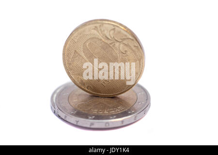euro end ruble coins isolated on white background - Stock Photo