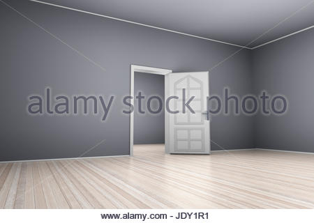 A 3D render of an empty bedroom with bright moonlight illuminating