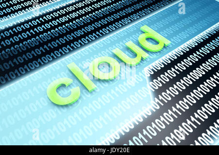 The word Cloud in front of a binary background. - Stock Photo