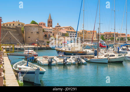 Alghero Sardinia port, view of the port and waterfront in Alghero northern Sardinia, Italy. - Stock Photo