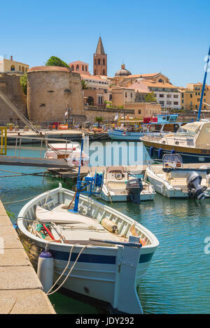 Sardinia port, view of the harbor and waterfront in Alghero northern Sardinia, Italy. - Stock Photo