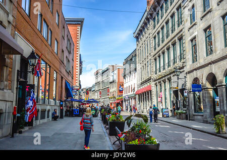 Montreal, Canada - June 15, 2017: Popular St Paul street in the Old Port. People can be seen around. - Stock Photo
