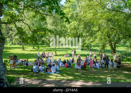 Graduation day at Abborreberg recreational area in Norrkoping. Norrkoping is a historic industrial town in Sweden. - Stock Photo
