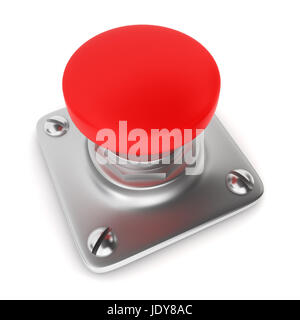 Red button. 3d illustration on white background - Stock Photo
