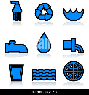 Icon set showing different elements normally associated with water - Stock Photo