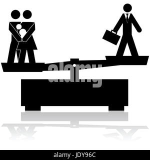 Concept illustration showing a scale trying to balance a family and a businessman - Stock Photo
