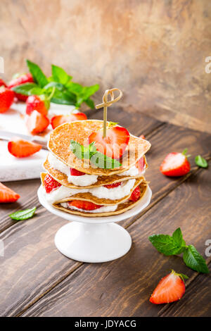 Small cake made of pancakes - Stock Photo