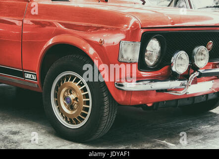 RIMINI , Italy - FEBRARY 12, 2017:Vintage FIAT 128 rally vintage car stands parked - Stock Photo