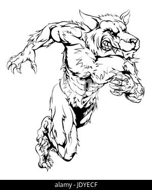 A werewolf wolf man character or sports mascot charging, sprinting or running - Stock Photo