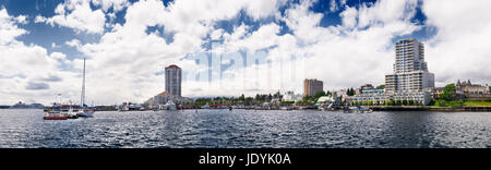 Panoramic view of Nanaimo city waterfront and harbour skyline on a sunny summer day. Vancouver Island, British Columbia, - Stock Photo