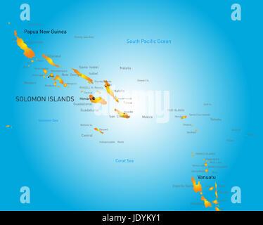 Vector color map of Soloman island - Stock Photo