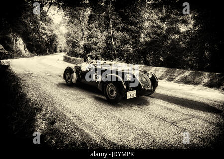 GOLA DEL FURLO, ITALY - MAY 19: HEALEY 2400 SILVERSTONE D-TYPE 1949 on an old racing car in rally Mille Miglia 2017 - Stock Photo