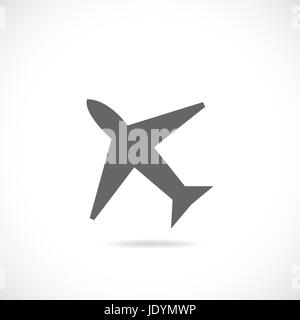 Illustration of an airplane silhouette isolated on a white background. - Stock Photo