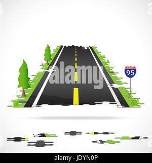 Illustration of a highway made with puzzle pieces isolated on a white background. - Stock Photo