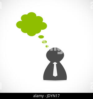 Illustration of a business person with a cloud isolated on a white background. - Stock Photo