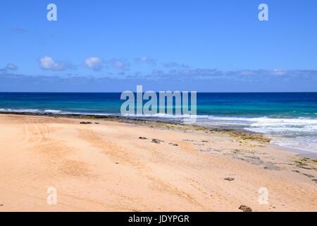 Deserted golden beach of Porto Santo, Madeira, Portugal - Stock Photo