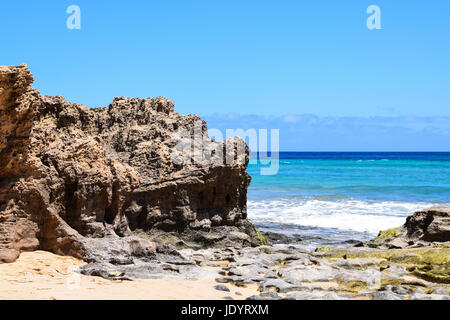 Seascape of the beach at Ponta da Calheta, Porto Santo Island, Portugal - Stock Photo