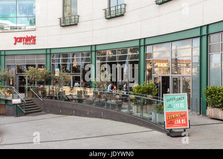 Italian Restaurant, part of the Jamies Italian chain owned by celebrity chef Jamie Oliver, in central Birmingham, - Stock Photo