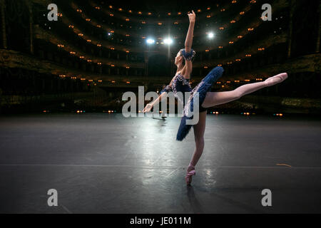 Moscow, Russia. 19th June, 2017 A ballerina rehearsing a dance before start the third round of the XIII International - Stock Photo