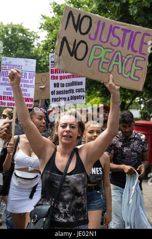 London, UK. 21st June, 2017. Activists from Movement For Justice By Any Means Necessary hold a 'Day of Rage' march - Stock Photo