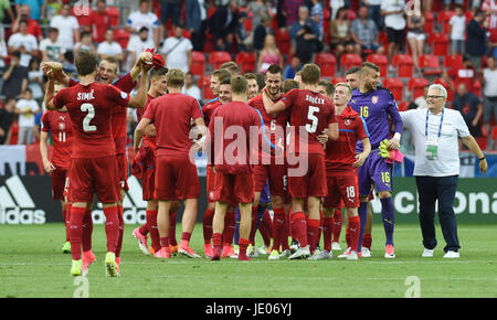 Tychy, Poland. 21st June, 2017. Czech players celebrate the win after the Czech Republic vs Italy match of under - Stock Photo