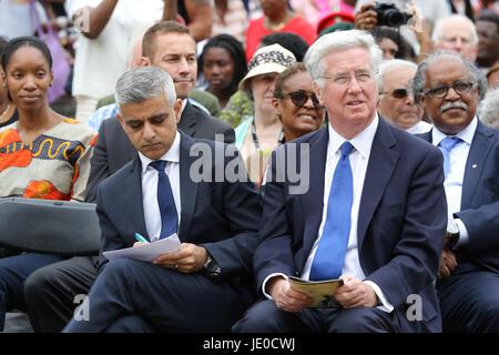 London, UK. 22nd Jun, 2017. Secretary of State for Defence Sir Michael Fallon and The Mayor of London, Sadiq Khan - Stock Photo