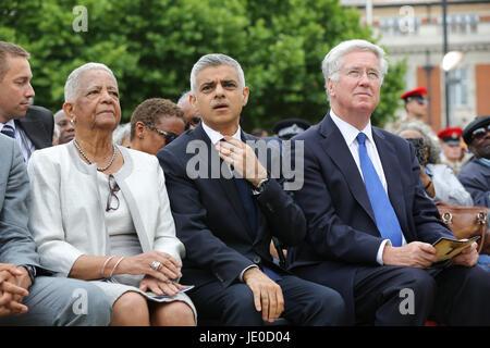 London, UK. 22nd Jun, 2017. Secretary of State for Defence Sir Michael Fallon, The Mayor of London, Sadiq Khan and - Stock Photo