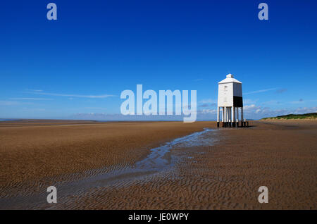 White timber lighthouse on the beach at Burnham on Sea Somerset England - Stock Photo