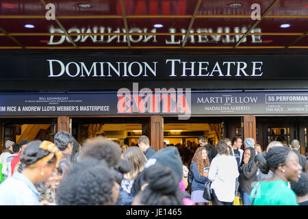 LONDON, UK - OCTOBER 05: Visitors at the entrance to the musical Evita, in the Dominon Theatre, The musical replaces - Stock Photo
