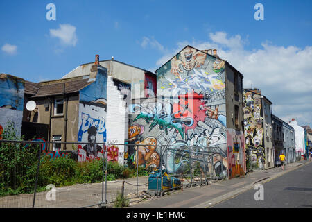 Graffiti Street Art in Brighton - Stock Photo