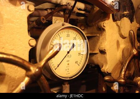 Depth meter on board Russian submarine - Stock Photo