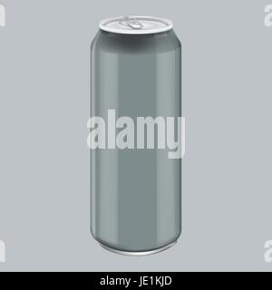 Gray Metal Aluminum Beverage Drink. Mockup for Product Packaging. Energetic Drink Can 500ml, 0,5L - Stock Photo