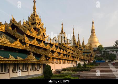 The Shwedagon Pagoda, the most well-known pagoda in Myanmar located in Yangon, Myanmar - Stock Photo