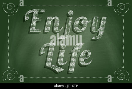 Enjoy The Little Things concept. Vintage style blackboard design. - Stock Photo