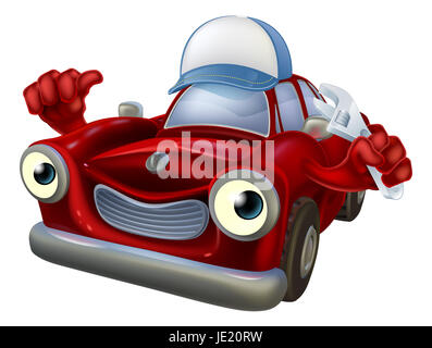 An illustration of a red cartoon car character wearing a baseball cap hat and holding a spanner while giving a thumbs - Stock Photo