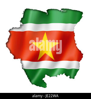 Suriname flag map, three dimensional render, isolated on white - Stock Photo
