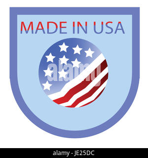 colorful illustration made in USA label on a white background - Stock Photo