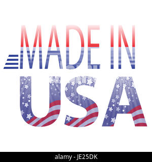colorful illustration made in USA text on a white background - Stock Photo
