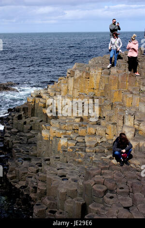 Giant's Causeway - People on the organ - Stock Photo