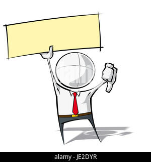 Sparse vector illustration of a of a generic Business cartoon character with thumbs down, holding up a label. - Stock Photo