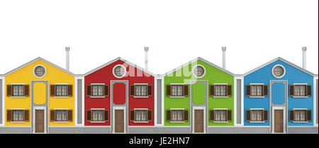 Set of colorful houses isolated on white - 3D Rendering - Stock Photo