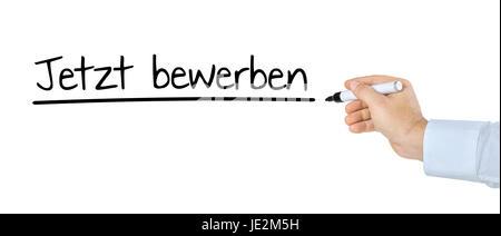 Hand mit Stift schreibt Jetzt bewerben - Stock Photo
