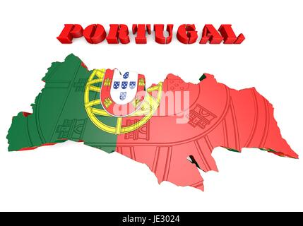 Map illustration of Portugal with map and coat of arms - Stock Photo