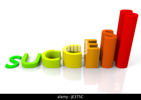 inscription success made of colorful 3d letters as the rising graph, 3d rendering - Stock Photo