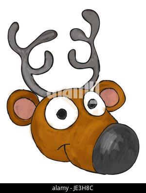 An illustration of a cute cartoon Christmas reindeers head - Stock Photo