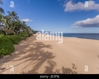 Aerial beach view on the north shore of Oahu Hawaii - Stock Photo